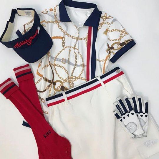 安定のnavy×red☆ホワイトベースで爽やかに️スカーフ柄プリントポロシャツ&トリコロール配色リボンテープ付き台形スカート