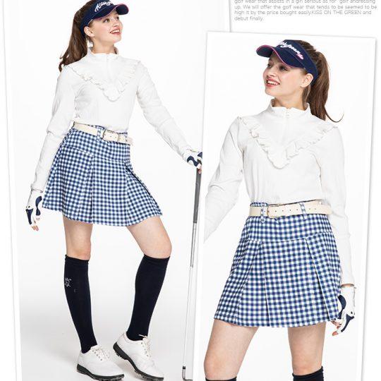 【春のゴルフウェアが気になる!】春を先取り!ギンガムチェックのボックスプリーツスカート